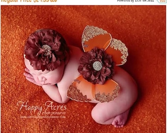 ON SALE Newborn Butterfly Wings and headband, Baby Wings, Fairy Wings, Newborn Photography Prop, Baby Girl Prop