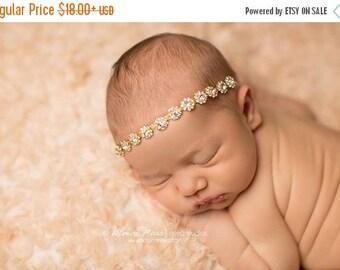 ON SALE Gold Baby Rhinestone Headband, Newborn headband, Newborn photography prop, Bling Band, Halo Headband