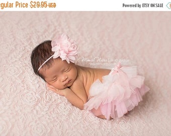ON SALE Pink Tutu Bloomer and Headband, Pink Ombre Diaper Cover, Newborn Photo Prop, Baby Bloomers, Bloomer Set FREE Shipping