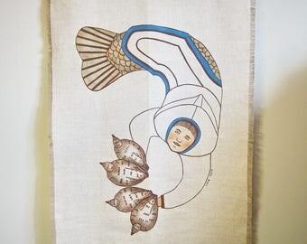 Inuit Canadian Eskimo Art Linen Wall Hanging Signed Linen Wall Art