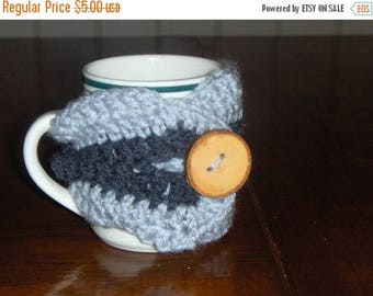Of Forest and Sky - Handmade Crocheted Coffee Cozy with wood tree branch button.  gift for or him under 5 dollars