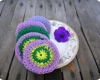 Cotton Facial Scrubbies. Petunia & Lavender Collection. Baby Pure Cotton Crocheted Round Facial Wash cloths. Orchid, lavender, green, multi