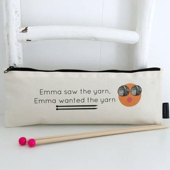 Emoji Knitting Needles : Saw the yarn wanted personalised knitting bag