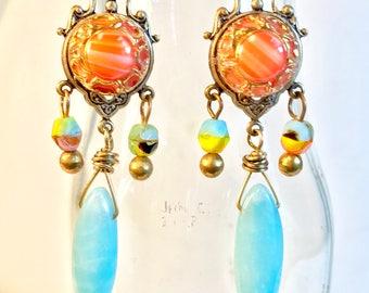Vintage Glass Button Chandelier Earrings