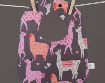 Llama Drama Bib, Snap Bib, Quirky Baby Bib, Toddler Bib, Cotton Baby Bib, Shower Gift Under 20, Llama Nursery, Hipster Baby Gift