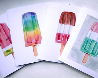 Popsicle Cards - Popsicle Watercolor Art Blank Note Cards - Frozen Dessert Pop Food Illustration Cards - Set of 12 Cards
