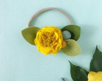 Sunnyside // Single Flower Headband or Alligator Clip, Carnation Felt Flower Accessories