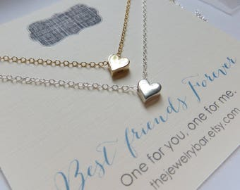best friend necklace for 2, sm heart necklace, bff gift, friends forever card, love, gold silver
