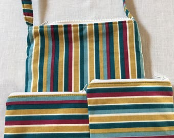 Jennette#1445, Striped Purse With Matching Wallets, Zippered Purse With Matching Zippered Wallets, Purse, Zippered Bag, Purse, Shoulder Bags