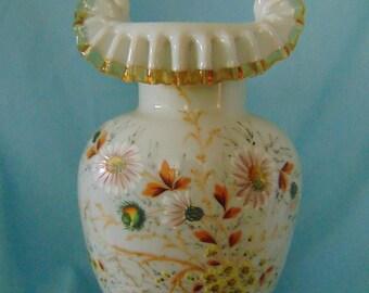 Antique Victorian Bristol Ruffled Vase