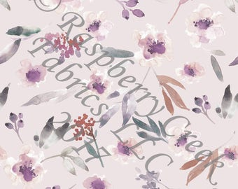 Dusty Lavender Eggplant Burgundy and Grey Watercolor Floral 4 Way Stretch FRENCH TERRY Knit Fabric, Fall Floral for Club Fabrics