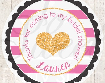 Bridal Shower Favors, Wedding Favor Stickers, Bachelorette Favors, Engagement Party Favors, Gold Heart Pink and Black Stripe - Set of 24