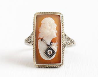 Vintage 10k White Gold Diamond Cameo Ring - Size 6 1/2 Vintage 1930s Filigree Art Deco Habillé Carved Shell Fine Necklace Jewelry