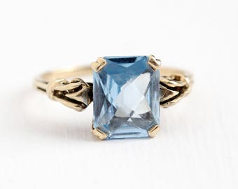 Vintage 10k Rosy Yellow Gold Created Blue Spinel Ring - Retro 1950s Size 7 1/4 Rectangular Cut 3 Carat Light Blue Stone Esemco Fine Jewelry