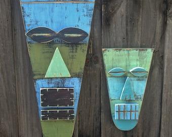 VLAD & ALEX, Large And Small Tiki Set, Wood Sculpture, Tiki Mask, Primitive Wall Hanging, Tiki Man, Rustic Beach House, Tiki Bar