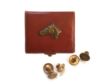 Antique Dunhill Leather Men's Equestrian Jewelry Box with Brass Horse Head and 5 Krementz Gold Plate Collar Button Studs