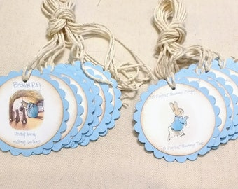 PETER RABBIT Custom Message Favor Tags - By the Dozen - Up to 2 custom designs