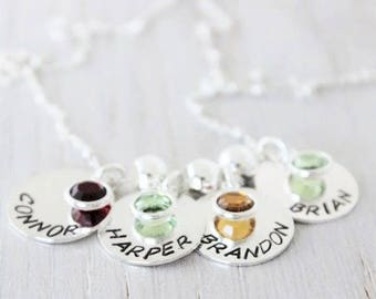 mothers necklace with birthstones, family necklace, names and birthstones, sterling silver name pendants, mothers necklace, 4 kids names