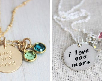 love you more birthstone necklace, personalized mom gift, gold or silver stamped disc, grandma necklace, i love you more, malisay designs