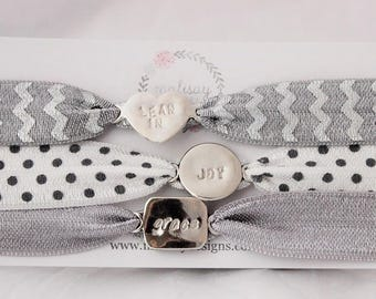 lean in, grace, joy inspirational word bracelet, sterling silver stacking jewerly, gray bracelets