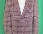 Vintage 70's Men's Red Blue Polyester Plaid Jacket Sport Coat Union Label 42 L