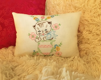 Kitten in a Cup Pillow Vintage Embroidered Pink