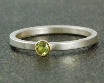 August Birthstone Ring | Natural Peridot | Sterling Silver | White or Gold Bezel | Stacking