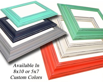 Picture Frame 8x10 or 5x7 Picture Frames Coral Mint Green or Custom Picture Frame Coral and Mint Nursery Wall Decor Wedding Wide Wood Frames