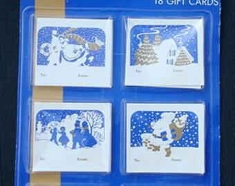 Vintage Christmas Gift Tags Winter Wonderland Blue White Gold Christmas Tags Christmas Wrapping Christmas Gift Tag