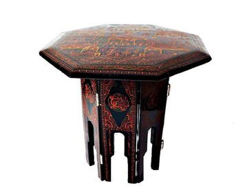 Vintage Chinese Coromandel Style Lacquer Table/ Small Black Embossed, Etched, and Hand Painted End Table from China