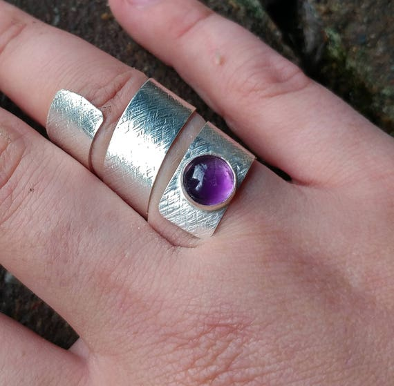 Adjustable size Sterling Silver Amethyst Ring