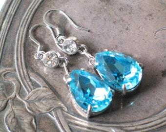Aqua Blue Faceted Teardrop Earrings, 18th century Jewelry, Outlander Inspired