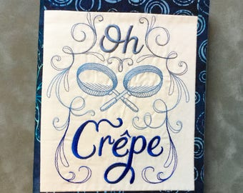 Oh Crepe! Embroidered  strip pieced Quilted Refillable Journal Notebook
