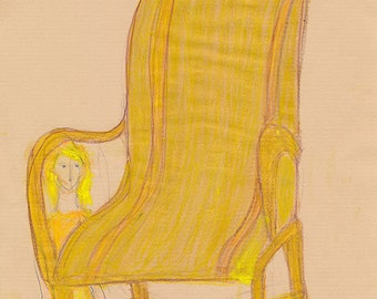 The spirit of the Chair #02, original mixed-media sketch on craft paper by Ina Mar