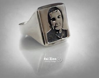 4th Prime Minister of Israel Golda Meir portrait ring by Ezi Zino