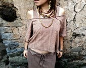 Vegetable Dye Organic Hemp cotton Boho Top with Viking and Old Slavic styled prints Eco Friendly Natural Tribal