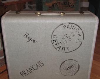 Vintage Samsonite Suitcase with travel markings