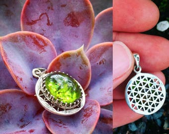 Peridot Flower of Life Pendant