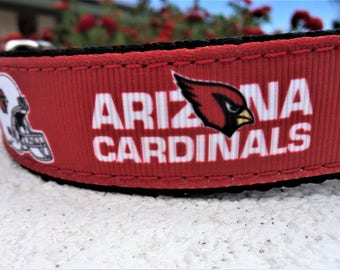 "Dog Collar, Arizona Cardinals, 1"" wide adjustable Side Release or Martingale style collar , NFL,"