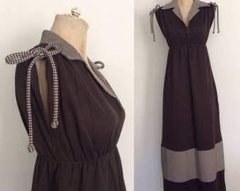 1980's Brown Maxi Dress w/ Gingham Details Size XS Small by Maeberry Vintage