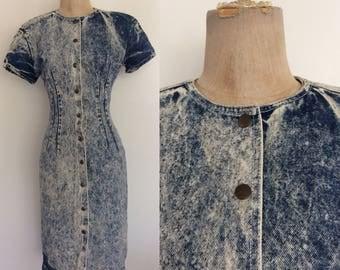 1980's Acid Wash Denim Snap Up Dress Size XS Small by Maeberry Vintage