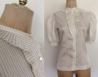 1980's Pleated Ruffle Striped Button Up Top Vintage Blouse Size Small by Maeberry Vintage