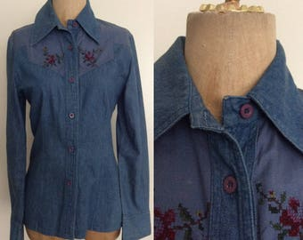1970's Cross Stitch Denim Button Up Shirt Chambray Vintage Top Size Small by Maeberry Vintage