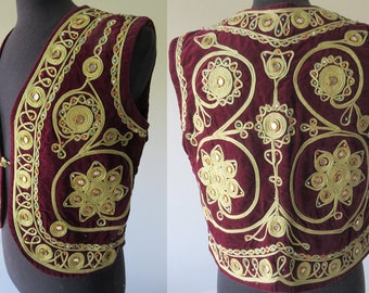 60's Vtg. Red Velvet Jimi Hendrix Indian Mirror Embroidered Gypsy Vest