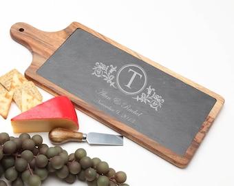Wood Cheese Board, Personalized Slate Board, Acacia Wood Slate Cheese Board, Monogrammed Gifts, Personalized Wedding Gift, Housewarming D15