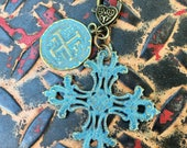 Large Filagree Pewter Turquoise Blue Patina Square Cross Pendant Detachable Mix and Match