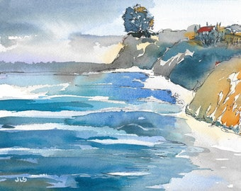 Original Watercolor and Ink Landscape Seacape Impressionist Ocean Painting Beach Cottage California