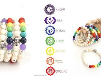 7 colors Chakra Elastic stackable beaded bracelet WHITE howlite Turquoise beads Rainbow colors Yoga Bohemian Buddha style jewelry by Inali