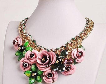25%Off Bib Flowers Necklace Floral Statement/Free Shipping