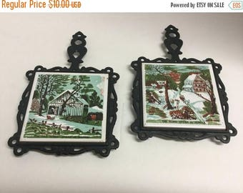 Sale Vintage Cast Iron Tile Trivet Trivets The Home Stead in Winter Homestead The Old Home Stead in Winter